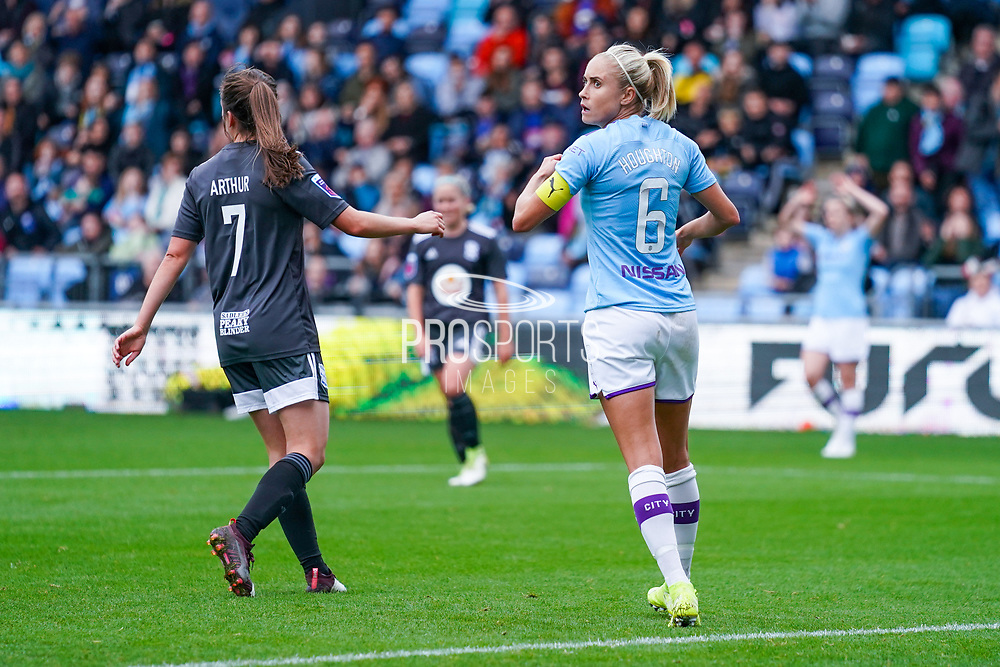 Manchester City Women defender Steph Houghton (captain) (6) reacts during the FA Women's Super League match between Manchester City Women and BIrmingham City Women at the Sport City Academy Stadium, Manchester, United Kingdom on 12 October 2019.