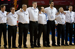 Head coach of France Vincent Collet (R) during the EuroBasket 2009 Quaterfinals match between Spain and France, on September 17, 2009 in Arena Spodek, Katowice, Poland.  (Photo by Vid Ponikvar / Sportida)