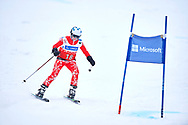 """Schladming, Austria - 2017 March 19: Isabella  Andrae from Austria (18) competes in Alpine Skiing Competition while Special Olympics World Winter Games Austria 2017 on the """"Sepp-Walcher-Downhill""""<br /> (Slope 32) near the """"Tauernalm"""" in Rohrmoos on March 19, 2017 in Schladming, Austria.<br /> <br /> Mandatory credit:<br /> Photo by © Adam Nurkiewicz / Mediasport<br /> <br /> Adam Nurkiewicz declares that he has no rights to the image of people at the photographs of his authorship.<br /> <br /> Picture also available in RAW (NEF) or TIFF format on special request.<br /> <br /> Any editorial, commercial or promotional use requires written permission from the author of image.<br /> <br /> Image can be used in the press when the method of use and the signature does not hurt people on the picture."""