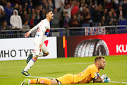Houssem Aouar (OL) celebrates after his goal, Reynet Baptiste (Dijon) during the French Championship Ligue 1 football match between Olympique Lyonnais and Dijon FCO on September 23, 2017 at Groupama stadium in Lyon, France - Photo Romain Biard / Isports / ProSportsImages / DPPI