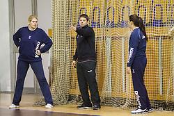 Misa Marincek, assistant coach Uros Bregar and Branka Zec during practice session of Slovenian Women handball National Team three days before match against Serbia, on October 24, 2013 in Arena Tivoli, Ljubljana, Slovenia. (Photo by Vid Ponikvar / Sportida)