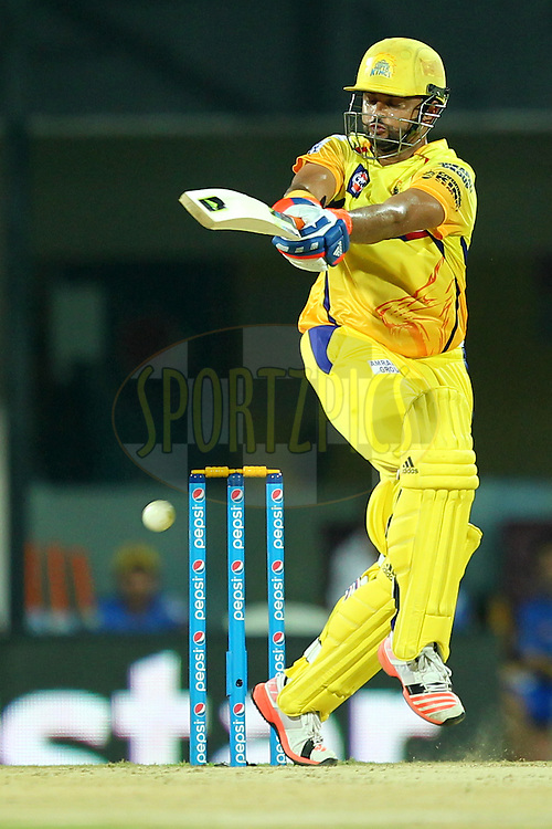 Suresh Raina of Chennai Super Kings during match 24 of the Pepsi IPL 2015 (Indian Premier League) between The Chennai Superkings and The Kings XI Punjab held at the M. A. Chidambaram Stadium, Chennai Stadium in Chennai, India on the 25th April 2015.Photo by:  Prashant Bhoot / SPORTZPICS / IPL