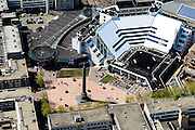 Nederland, Flevoland, Lelystad, 08-09-2009. Centrum Lelystad,  Stadhuisplein met Stadhuis en Zuil van Lely (standbeeld Cornelis Lely op kolom).<br /> Lelystad city centre with city hall and central square.<br /> luchtfoto (toeslag op standard tarieven);<br /> aerial photo (additional fee required);<br /> copyright foto/photo Siebe Swart