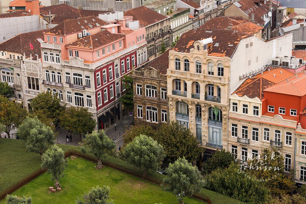 The view from Torre dos Clérigos of Praça de Lisboa, Porto, Portugal