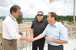 Ivan Simic of NZS , Mayor of Ljubljana Zoran Jankovic and Franci Zavrl at open door day 1 year before opening of new football stadium and sports hall in Stozice,  on June 30, 2009, at Stadium Stozice, Ljubljana, Slovenia. (Photo by Vid Ponikvar / Sportida)
