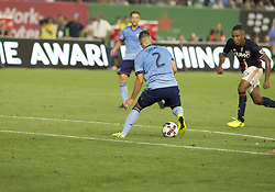 August 20, 2017 - New York, New York, United States - Ben Sweat (2) of NYC FC controls ball during regular MLS game against New England Revolution on Yankee stadium NYC FC won 2 - 1  (Credit Image: © Lev Radin/Pacific Press via ZUMA Wire)