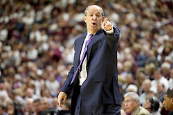 Vanderbilt head coach Kevin Stallings reacts as his team take the ball inbounds against Texas A&M during the first half of an NCAA college basketball game, Saturday, March 5, 2016, in College Station, Texas. (AP Photo/Sam Craft)
