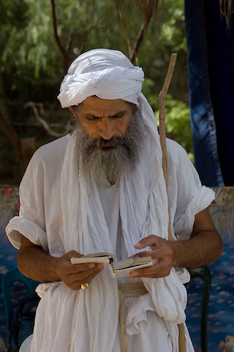"Iraqi Mandean Christian ""priest"" conducts baptism ceremony, Damascus, Syria..Photograph by John Wreford.9th May 2010"