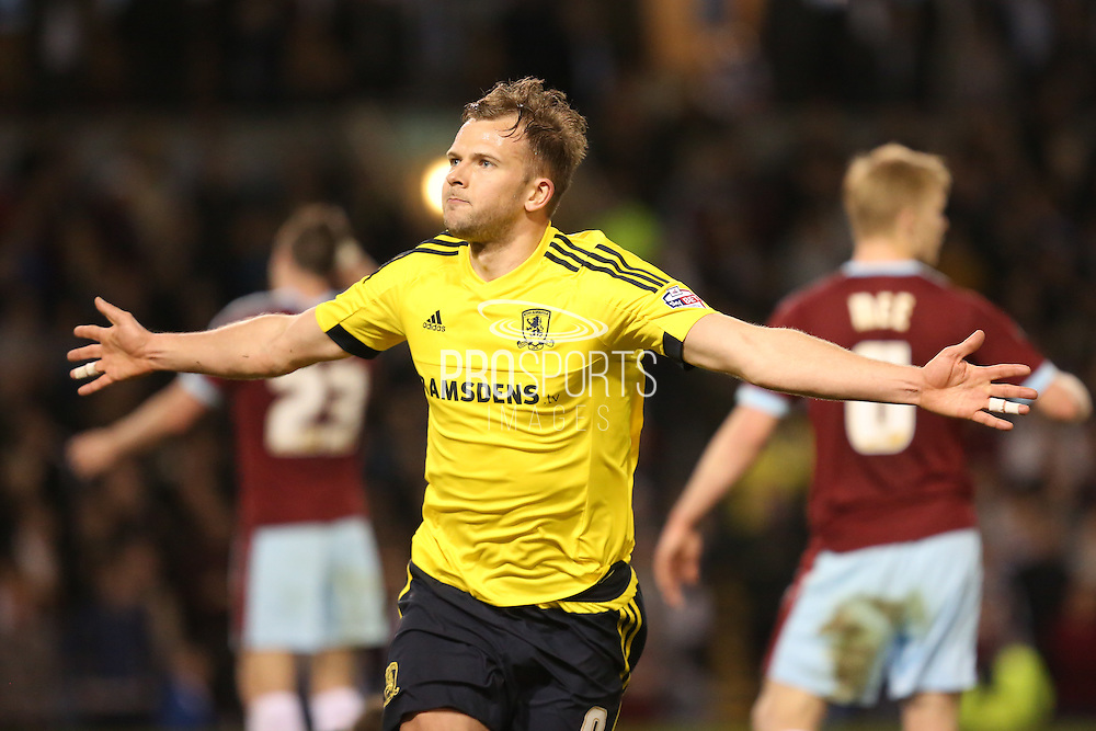 Jordan Rhodes of Middlesbrough celebrates the opening goal to make it 1-0  during the Sky Bet Championship match between Burnley and Middlesbrough at Turf Moor, Burnley, England on 19 April 2016. Photo by Simon Brady.