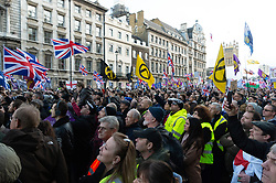 © Licensed to London News Pictures. 09/12/2018. London, UK. Demonstrators take part in a pro-Brexit rally in Whitehall organised by UKIP. The march took place three days before parliament's crucial vote on Theresa May's deal. Photo credit: Ray Tang/LNP
