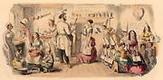 The Preparatory School for Young Ladies. Practical cookery education for girls.  Cartoon by John Leech (1817-1864) English caricaturist.  Engraving.