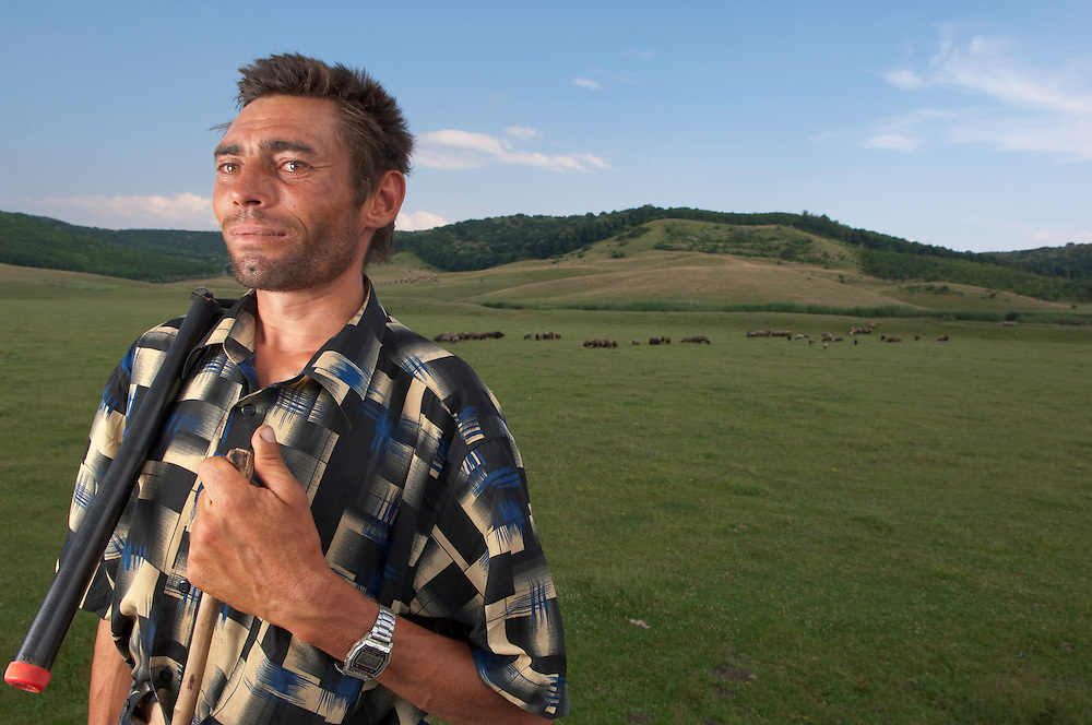 Portrait of local shepherd in Balti region, central Moldova