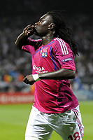 FOOTBALL - UEFA CHAMPIONS LEAGUE 2011/2012 - GROUP STAGE - GROUP D - OLYMPIQUE LYONNAIS v DINAMO ZAGREB - 27/09/2011 - PHOTO JEAN MARIE HERVIO / DPPI - JOY BAFETIMBI GOMIS (OL) AFTER HIS GOAL