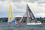 Charlie Dalin (Macif), Thierry Chabagny (Gedimat), Pierre Rhimbault (Bretagne CMB Espoir) during the start of the Douarnenez Fastnet Solo 2017 on September 17, 2017 in Douarnenez, France - Photo Francois Van Malleghem / ProSportsImages / DPPI