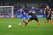 Hartlepool United striker Lewis Alessandra (15) passes Barnet midfielder Curtis Weston (8) during the EFL Sky Bet League 2 match between Barnet and Hartlepool United at Underhill Stadium, London, England on 29 October 2016. Photo by Jon Bromley.