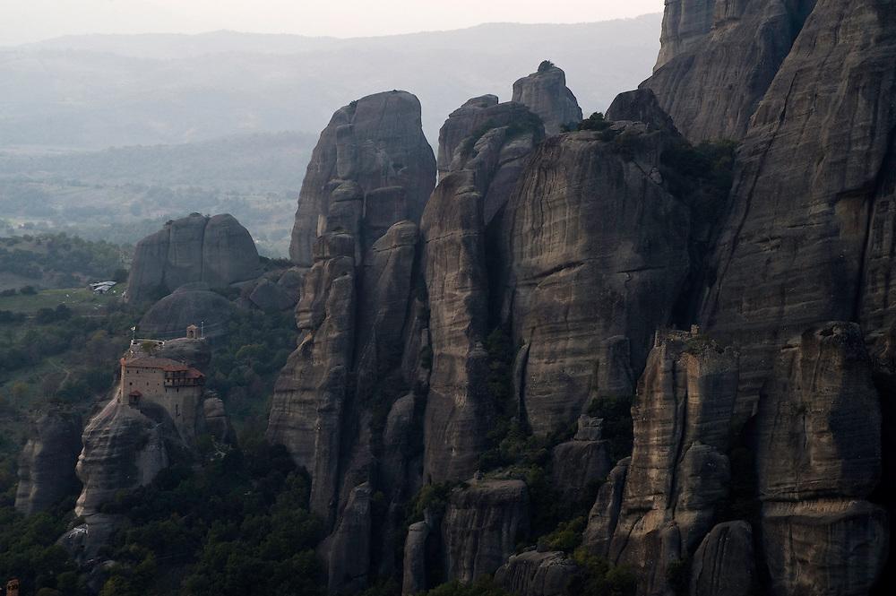 Greece, Meteora, Agios Nikolaos (St, Nicholas) Anapafsas Monastery in gloaming light