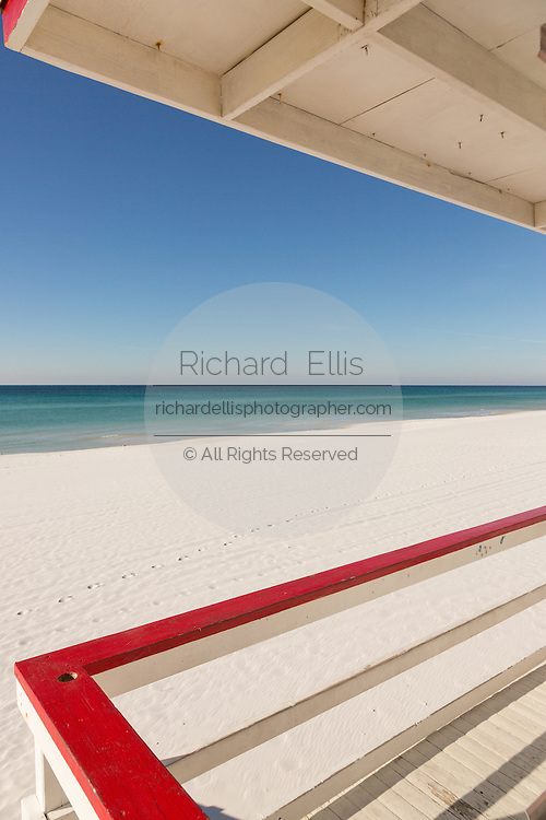 View of the ocean from a lifeguard station on the white sand beaches in Fort Walton Beach, Florida.