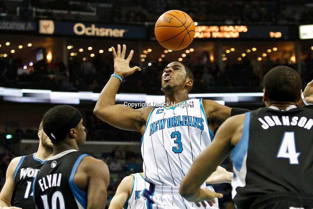 February 7, 2011; New Orleans, LA, USA; New Orleans Hornets point guard Chris Paul (3) loses control of the ball against the Minnesota Timberwolves during the first quarter at the New Orleans Arena.   Mandatory Credit: Derick E. Hingle