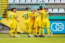 Domzale players celebrate during 1st leg football match between NK Siroki Brijeg and NK Domzale in 1st Qualifying round of UEFA Europa League , on July 12, 2018 in Stadium Pecara, Siroki Brijeg, Bosnia and Herzegovina. Photo by Ziga Zupan / Sportida