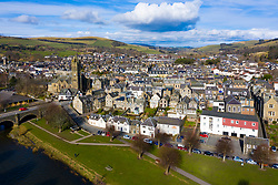 Aerial view of town of Peebles in the Scottish Borders, Scotland,UK