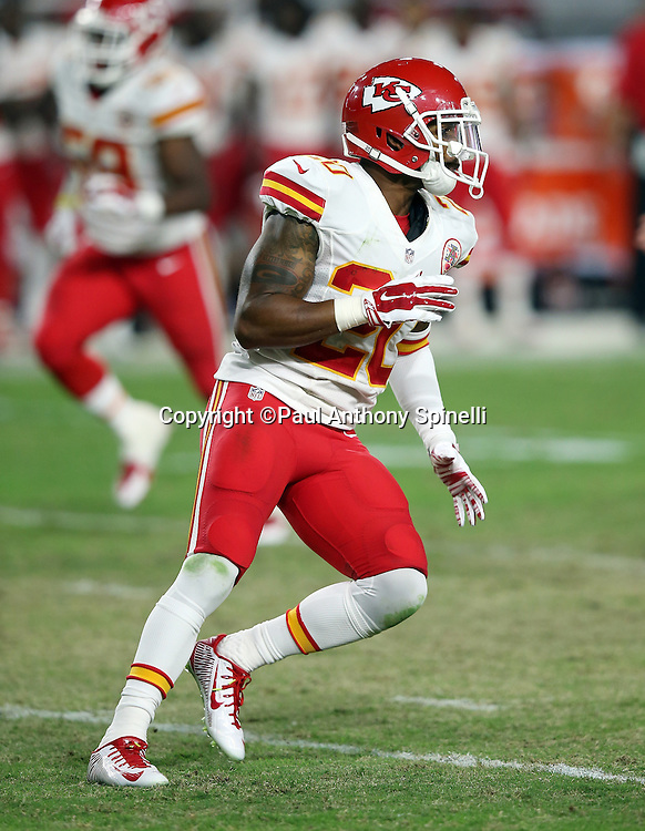 Kansas City Chiefs cornerback Steven Nelson (20) chases the action during the 2015 NFL preseason football game against the Arizona Cardinals on Saturday, Aug. 15, 2015 in Glendale, Ariz. The Chiefs won the game 34-19. (©Paul Anthony Spinelli)