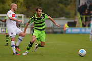 Forest Green Rovers striker Christian Doidge (9) closes down the ball during the Vanarama National League match between Forest Green Rovers and Dagenham and Redbridge at the New Lawn, Forest Green, United Kingdom on 29 October 2016. Photo by Alan Franklin.