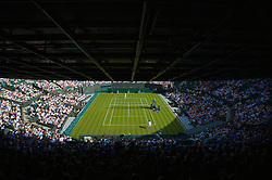 LONDON, ENGLAND - Monday, June 23, 2008: A general view of Court No. 1 as Lleyton Hewitt (AUS) takes on Robin Haase (NED) during the first round match on day one of the Wimbledon Lawn Tennis Championships at the All England Lawn Tennis and Croquet Club. (Photo by David Rawcliffe/Propaganda)