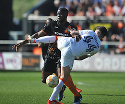 ALAN SHEEHAN LUTON TOWN HOLDS OF BARNETS JOHN AKINDE, Barnet v Luton Town EFL Sky Bet League 2 The Hive, Saturday 8th April 2017, Score 0-1<br /> Photo:Mike Capps