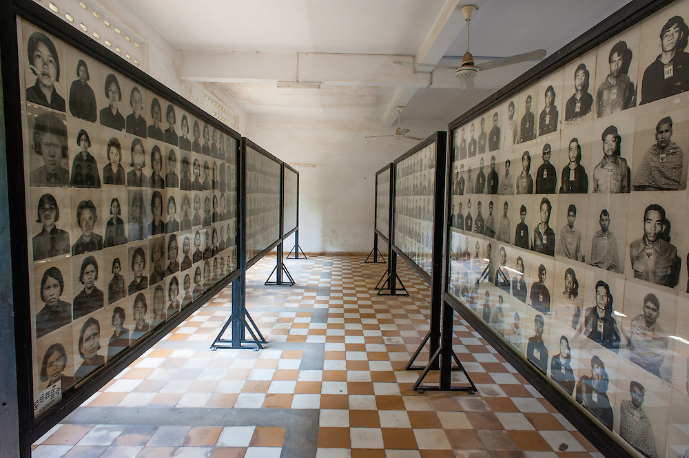 Portraits of killed people by Khmer Rouge at Tuol Sleng Prison in Phnom Penh (Cambodia).