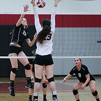 (Photograph by Bill Gerth for SVCN) Westmont #28 Sarah Hazel looks to score vs Piedmont Hills in a BVAL Girls Volleyball Game at Westmont High School, Campbell CA on 9/29/16.  (Piedmont Hills wins 3-0, 25-13, 25-14, 25-20)