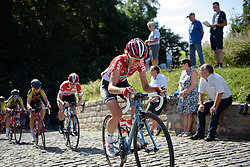 Claudia Lichtenberg (Lotto Soudal) climbs Muur van Geraardsbergen at the 97 km Stage 3 of the Lotto Belgium Tour 2016 on 9th September 2016 in Geraardsbergen, Belgium. (Photo by Sean Robinson/Velofocus).