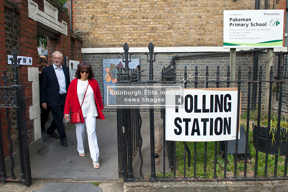 Jeremy Corbyn leaving Pakeman Primay School, his local polling station after casting his vote in the EU elections. Corbyn was accompanied by his wife Laura Alvarez.<br /> <br /> Richard Hancox   EEm 23052019