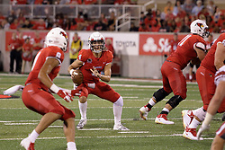NORMAL, IL - September 01: Brady Davis looks to make a pass to Jordan Birch during a college football game between the ISU (Illinois State University) Redbirds and the Saint Xavier Cougars on September 01 2018 at Hancock Stadium in Normal, IL. (Photo by Alan Look)