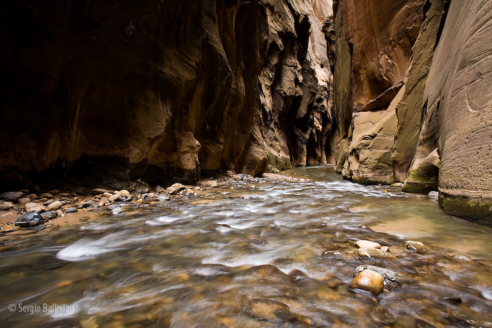 The Narrows canyon is carved by the Virgin River in Zion National Park, near Springdale, Utah