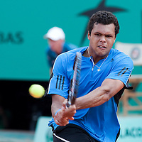 1 June 2009: Jo Tsonga of France hits a backhand during the Men's Single Fourth Round match on day nine of the French Open at Roland Garros in Paris, France.