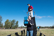 Idaho Statesman reporter Rachel Roberts and starter Dave Roy before the start of the Bob Firman Invitational girls elite race on September 24, 2016 at Eagle Island State Park, Eagle, Idaho.
