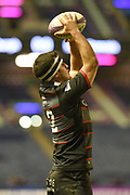 Stuart McInally takes lineout during the European Rugby Challenge Cup match between Edinburgh Rugby and Stade Francais at Murrayfield Stadium, Edinburgh, Scotland on 12 January 2018. Photo by Kevin Murray.