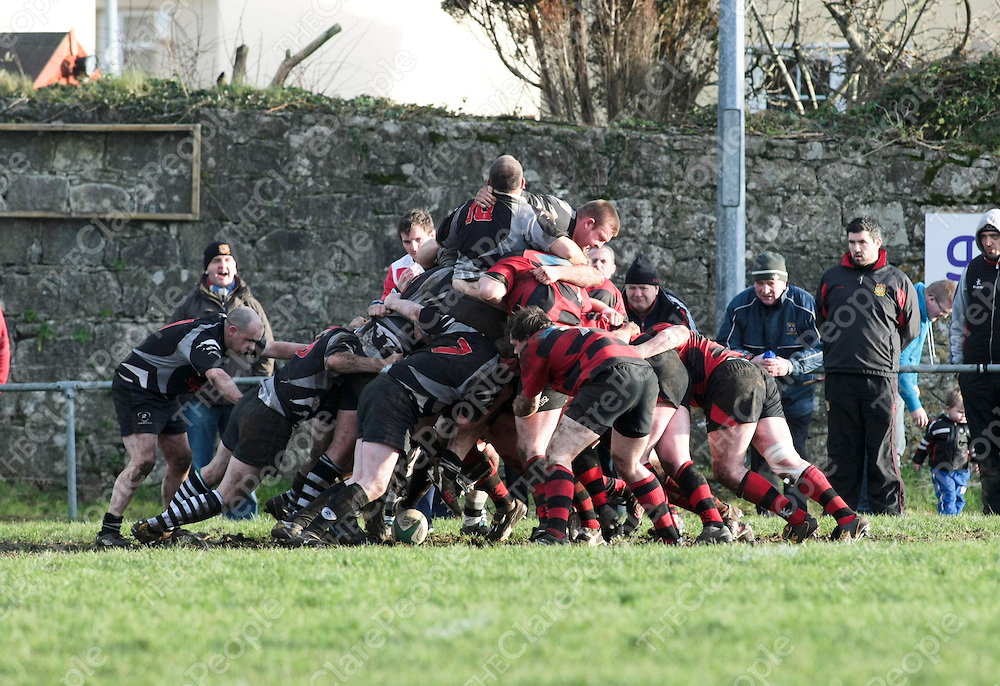 Ennis RFC &amp; Scarriff RFC in action during their Game played in Showgrounds Ennis Co.Clare..<br /> Picture Credit  Brian Gavin Press 22