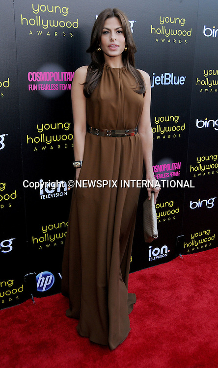 """Eva Mendes .arrives at the 2011 Young Hollywood Awards at Club Nokia on May 20, 2011 in Los Angeles, California..Mandatory Photo Credit: ©Crosby/Newspix International..**ALL FEES PAYABLE TO: """"NEWSPIX INTERNATIONAL""""**..PHOTO CREDIT MANDATORY!!: NEWSPIX INTERNATIONAL(Failure to credit will incur a surcharge of 100% of reproduction fees)..IMMEDIATE CONFIRMATION OF USAGE REQUIRED:.Newspix International, 31 Chinnery Hill, Bishop's Stortford, ENGLAND CM23 3PS.Tel:+441279 324672  ; Fax: +441279656877.Mobile:  0777568 1153.e-mail: info@newspixinternational.co.uk"""