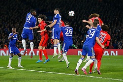 David Luiz of Paris Saint-Germain scores a goal with his head to level the match at 1-1 and take the tie to extra time - Photo mandatory by-line: Rogan Thomson/JMP - 07966 386802 - 11/03/2015 - SPORT - FOOTBALL - London, England - Stamford Bridge - Chelsea v Paris Saint-Germain - UEFA Champions League Round of 16 Second Leg.