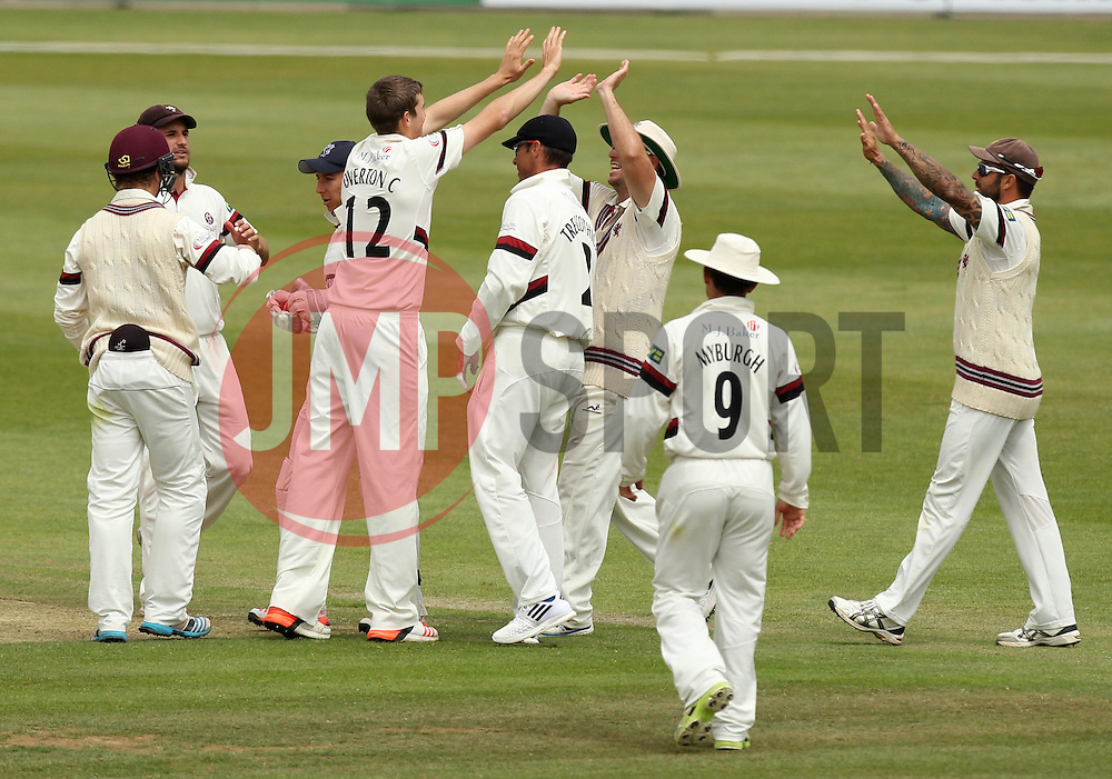 Somerset's Craig Overton celebrates taking the wicket of Hampshire's James Tomlinson - Photo mandatory by-line: Robbie Stephenson/JMP - Mobile: 07966 386802 - 23/06/2015 - SPORT - Cricket - Southampton - The Ageas Bowl - Hampshire v Somerset - County Championship Division One