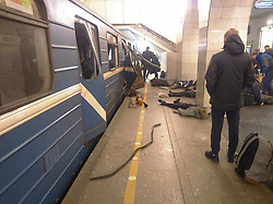 April 3, 2017 - Saint Petersburg, Russia - April 3, 2017. - Russia, Saint Petersburg. - Victims lie at the Technology Institute subway station. At least 10 people have been killed. (Credit Image: © Russian Look via ZUMA Wire)