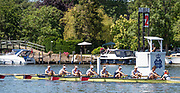 Henley on Thames, England, United Kingdom, 4th July 2019, Henley Royal Regatta, Remenham,Challenge Cup, Amsterdamsche Studenten Roeivereeniging Nereus and Utrechtsche Studenten Roeivereeniging Triton, Netherlands,   passing the one mile and one eight barrier,  Henley Reach, [© Peter SPURRIER/Intersport Image]<br /> <br /> 11:56:54 1919 - 2019, Royal Henley Peace Regatta Centenary,