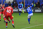 GOAL Tom Nichols scores  to  make it 2-0 during the EFL Sky Bet League 1 match between Peterborough United and Rochdale at London Road, Peterborough, England on 25 February 2017. Photo by Daniel Youngs.