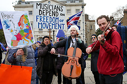 © Licensed to London News Pictures. 19/01/2019. London, UK. Anti-Brexit musicians march from the Houses of Parliament to Downing Street on day three of Meaningful Vote debate and on Tuesday 15 January 2019 the MPs will vote on Prime Minister, Theresa May's Brexit deal. Photo credit: Dinendra Haria/LNP