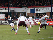 Dundee&rsquo;s Paul McGowan fires in a shot whihc was saved by Hearts&rsquo; Neil Alexander - Dundee v Hearts - Ladbrokes Premiership at Dens Park <br />  - &copy; David Young - www.davidyoungphoto.co.uk - email: davidyoungphoto@gmail.com