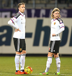 29.01.2016, Generali Arena, Wien, AUT, Testspiel, FK Austria Wien vs FC Basel, im Bild Marc Janko (FC Basel) und Birkir Bjarnason (FC Basel) // during a preperation Football Match between FK Austria Wien vs FC Basel at the Generali Arena in Vienna, Austria on 2016/01/29. EXPA Pictures © 2016, PhotoCredit: EXPA/ Thomas Haumer