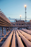Achimgaz's UKPG gas and condensate processing system in Novy Urengoi, Arctic Siberia, Russia. Achimgaz is a joint-venture between Germany's BASF Wintershall and Russia's Gazprom. Photo by photographer Justin Jin.