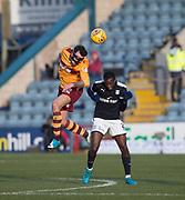 24th February 2018, Dens Park, Dundee, Scotland; Scottish Premier League football, Dundee versus Motherwell; Ryan Bowman of Motherwell and Glen Kamara of Dundee