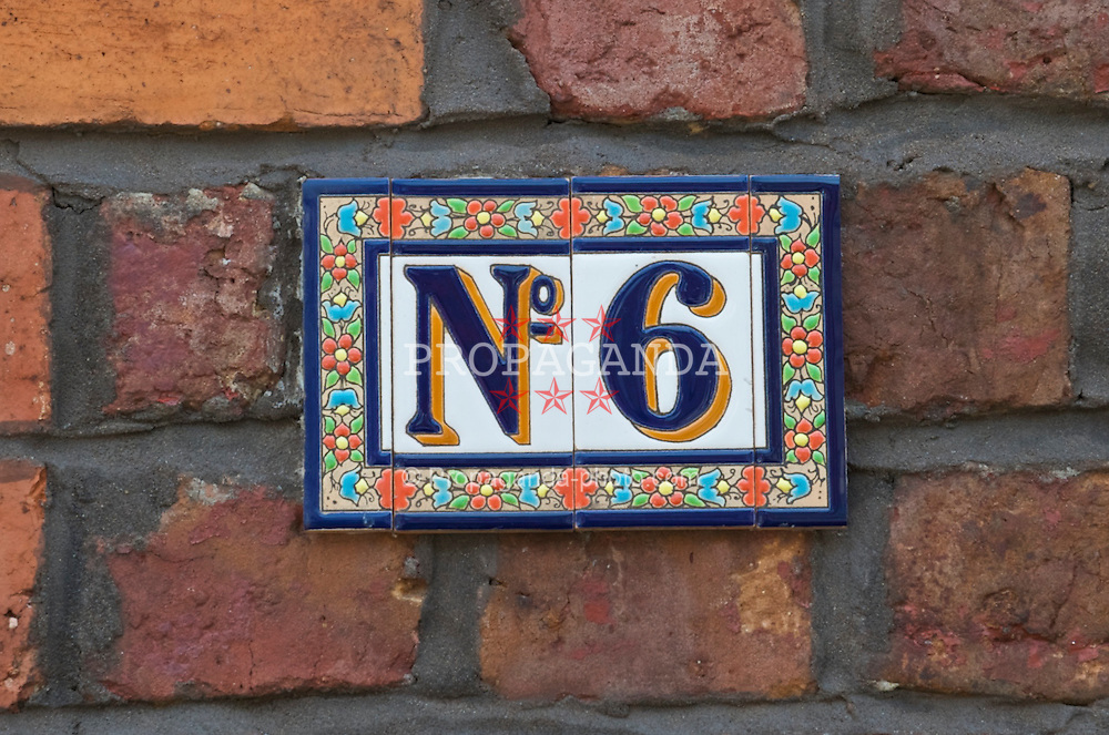 LIVERPOOL, ENGLAND - Wednesday, July 8, 2009: A house number on Skerries Road, a residential street of Victorian terraced houses nearby Liverpool Football Club's Anfield Stadium. (Pic by David Rawcliffe/Propaganda)